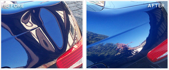 blue car paintless dent repair