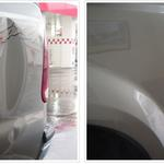 Before and After pictures of PDR service by Orange County Paintless Dent Company