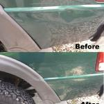 Green truck before and after repaired with paintless dent removal