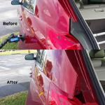 Back corner of a red car fixed with paintless dent repair